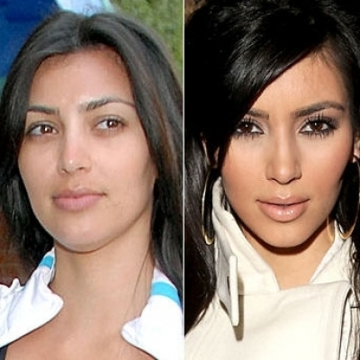 Kim Kardashin with and without makeup