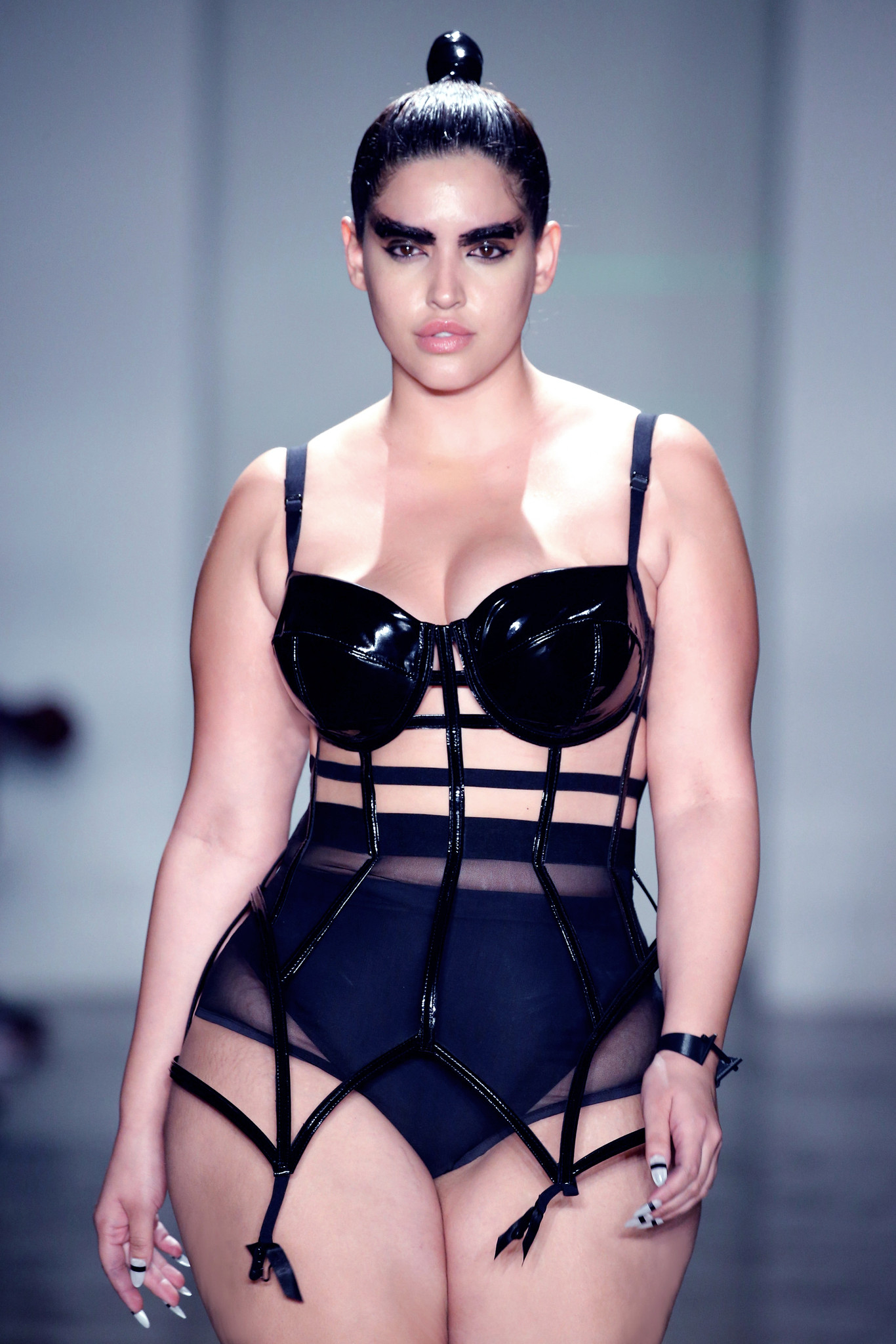 NEW YORK, NY - FEBRUARY 13:  A model walks the runway at the Chromat AW15: Mindware fashion show during Mercedes-Benz Fashion Week Fall 2015 at Milk Studios on February 13, 2015 in New York City.  (Photo by JP Yim/Getty Images for Chromat)