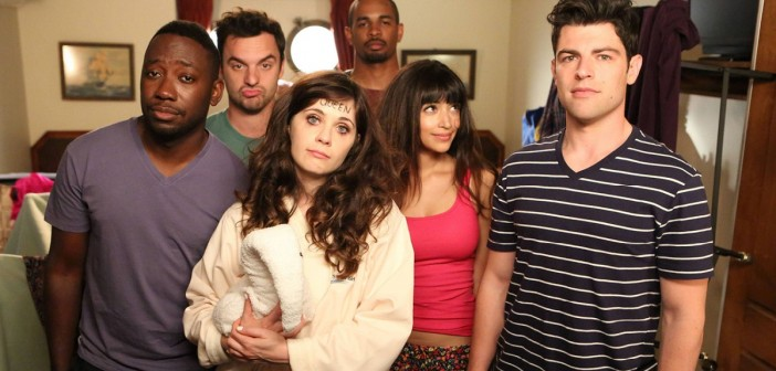 "NEW GIRL: The gang (L-R: Lamorne Morris, Jake Johnson, Zooey Deschanel, guest star Damon Wayans, Jr., Hannah Simone and Max Greenfield) recovers after a rough night in the ""Cruise"" Season Finale episode of NEW GIRL airing Tuesday, May 6 (9:00-9:30 PM ET/PT) on FOX. ©2014 Fox Broadcasting Co. Cr: Adam Taylor/FOX"