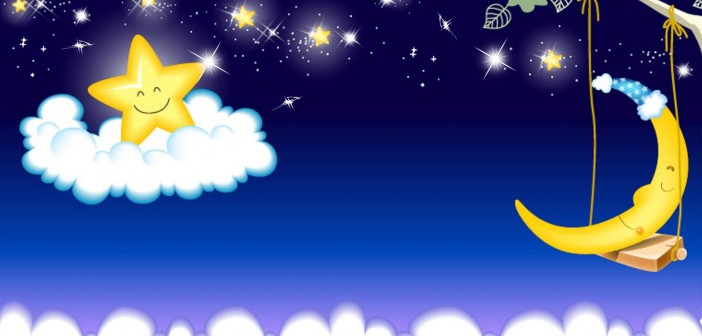 Moon Sky Cute Children Clouds Stars Persona Trees Firefox Swinging Bright Cartoon Rainy Wallpaper