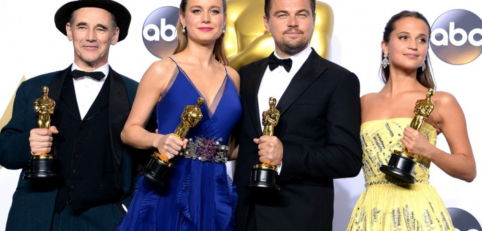 poses in the press room during the 88th Annual Academy Awards at Loews Hollywood Hotel on February 28, 2016 in Hollywood, California.