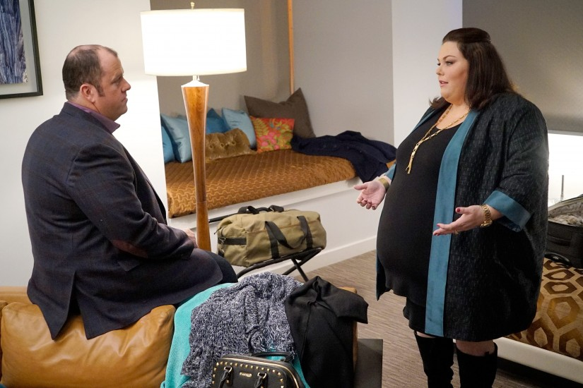 "THIS IS US -- ""What Now?"" Episode 117 -- Pictured: (l-r) Chris Sullivan as Toby, Chrissy Metz as Kate -- (Photo by: Paul Drinkwater/NBC)"