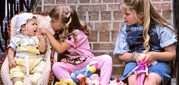 "UNITED STATES - SEPTEMBER 22:  FULL HOUSE - ""Our Very First Show"" - Pilot - Season One - 9/22/87, Pictured, from left: Mary Kate/Ashley Olsen, Jodie Sweetin and Candace Cameron played sisters Michelle, Stephanie and D.J. Tanner, who were raised by their father, Danny, their Uncle Jesse, and a family friend, Joey Gladstone, after the death of their mother.,  (Photo by ABC Photo Archives/ABC via Getty Images)"