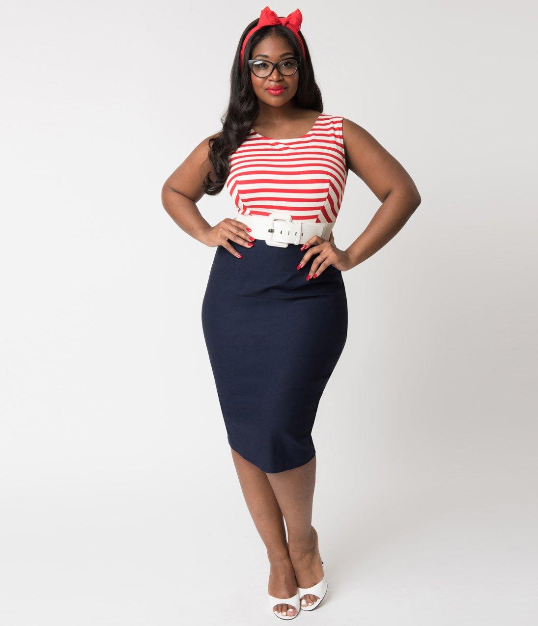 Barbie-x-Unique-Vintage-Plus-Size-Cruise-Stripes-Nautical-Pencil-Dress