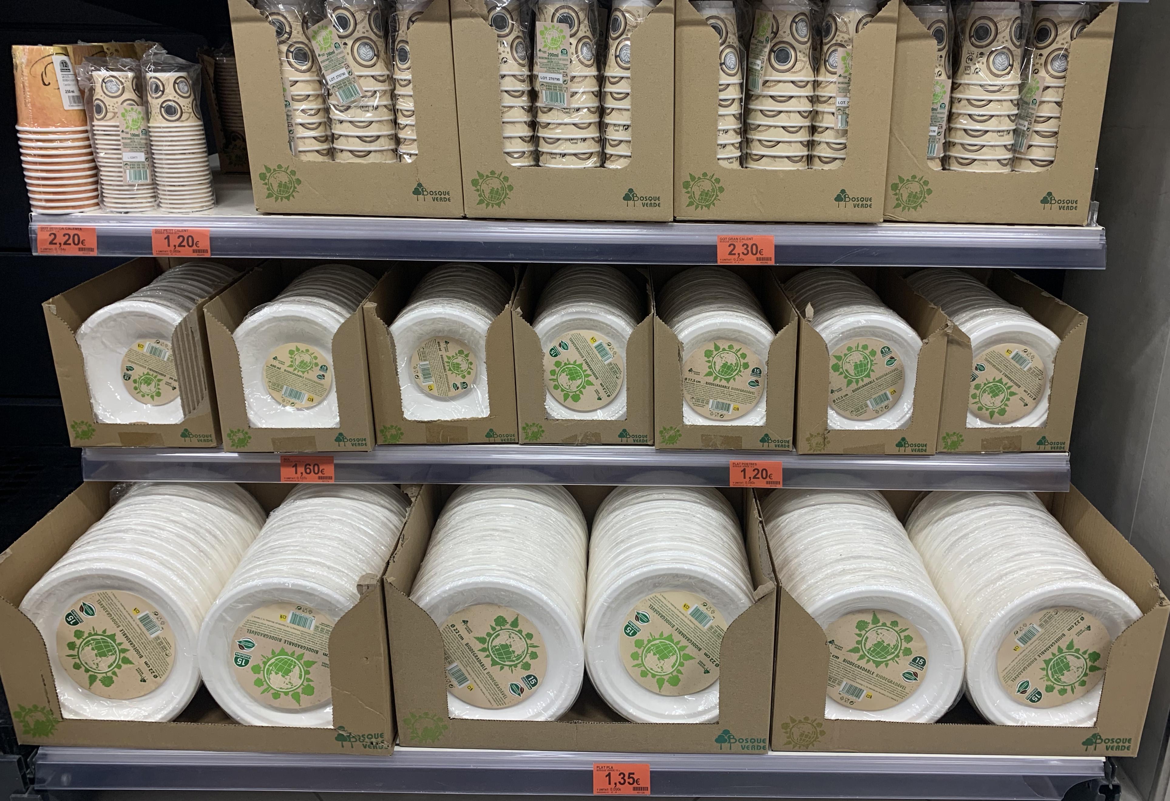 Platos/vasos biodegradables mercadona